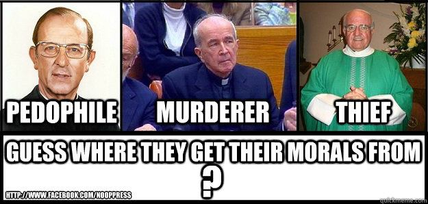 A pedophile, a murderer and a thief walk out of a church...