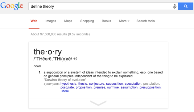 Google definition: Theory
